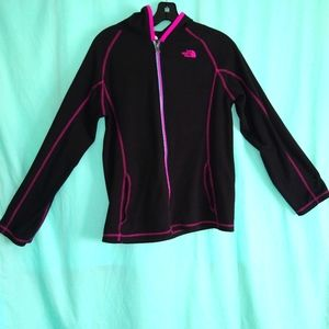 The North Face fleece jacket black pink hooded XL